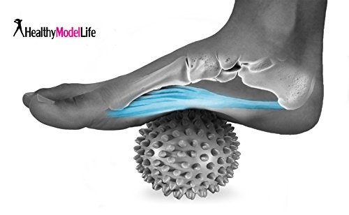 Fuß-behandlungs-system (Premium Massageball mit Noppen - Besonders empfohlen für Plantarfasziitis & Reflexzonenmassage - Silber)