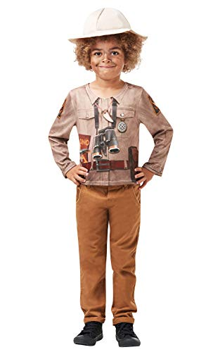Dschungel Kostüm Junge - Rubie's 640787L Offizielles Dino Explorer Kostüm Kit, Safari Dschungel Zoo Keeper, Kinderkostüm, Größe L 7-8 Jahre, Unisex, mehrfarbig