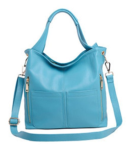 Keshi Leder neuer Stil Damen Handtaschen, Hobo-Bags, Schultertaschen, Beutel, Beuteltaschen, Trend-Bags, Velours, Veloursleder, Wildleder, Tasche Himmelblau