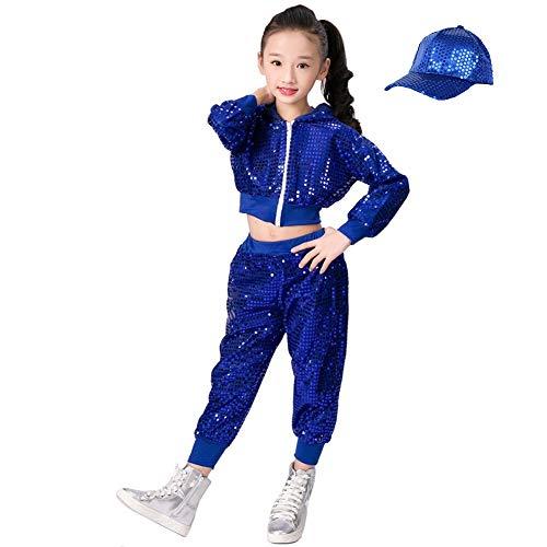 Tanz Kostüm Street - Kinder Mädchen Pailletten Hip Hop Kostüm Street Dance Kleidung gesetzt (128/134, blau)