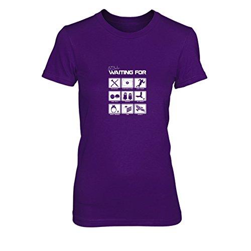 Still waiting for - Damen T-Shirt, Größe: XL, Farbe: (Lila Idee Minion Kostüm)