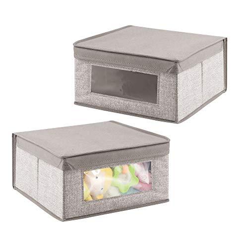 mDesign Set da 2 scatola contenitore con coperchio per oggetti neonato - Scatola multiuso in tessuto per copertine, pannolini, ecc - colore: grigio
