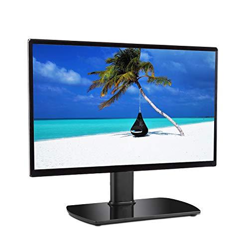 RFIVER Meuble TV Pivotant Design Support TV Pieds en Verre à Téléviseur de 20 à 32 pouces, Verre de Sécurité Noir UT2003