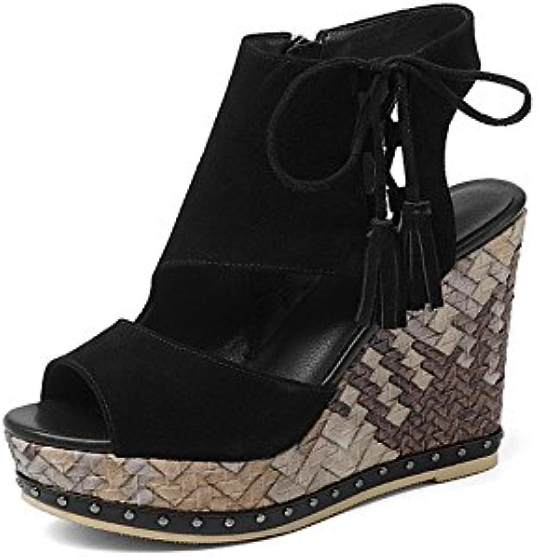 Chaussures 11cm noir, sandales compensées de bouche bouche de de poisson, plate-forme plate-forme plate-forme à talons hauts...B07CSX4FF4Parent 16a4ca