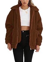 b0484cf79586 Miss Floral® Womens Oversized Faux Fur Teddy Bear Coat 6 Colour Size 8-18