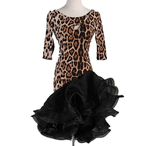 CX Erwachsene Latin Dance Practice Kleider Training Tutu Rock Einfache Klassische Rumba Tango Dance Kostüm (Color : Leopard, Size : - Einfache Klassische Kostüm