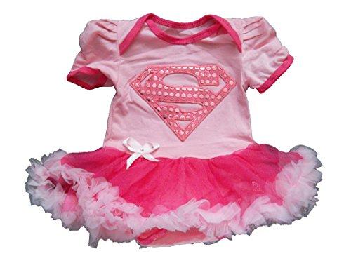Rosa Supergirl 0-3 Monate Baby Kleinkind Mädchen Spielanzug Party Spiel Kleid (Superman Monat 0 Kostüm 3)