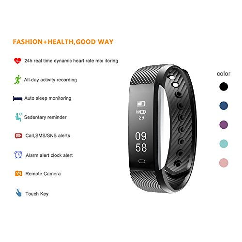 BALMORA Fitness Tracker Heart Rate Monitor Watch With Ttouch Screen Callsmssns Alert Activity Tracking And Sleep Monitor For Android And IOS