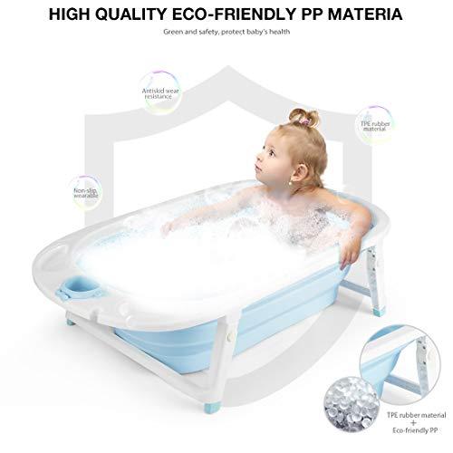 Imagen para Fascol Bañera Plegable para Bebés 0-36 Meses, Baño Bebe con Red de Seguridad, Longitud de La Piscina para Bebés 82 cm (Azul)