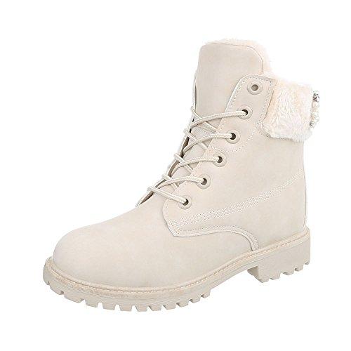 4fb261082a3059 Schnürstiefeletten Damen-Schuhe Schnürstiefeletten Blockabsatz Schnürer  Schnürsenkel Ital-Design Stiefeletten Beige