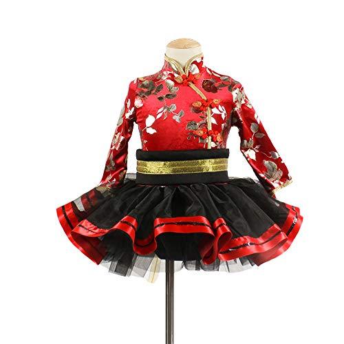 Chinesische Ballett Kostüm - HUO FEI NIAO Langärmliges chinesisches Ballett für Kinder, Moderne Kostüme 3215 (Farbe : Rot, größe : 130CM)