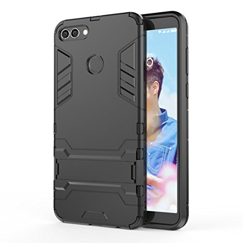 Price comparison product image FLHTZS Case Compatible with Huawei Y9 (2019) Bracket TPU + PC perfect combination simple stylish generous with the fuselage(black)