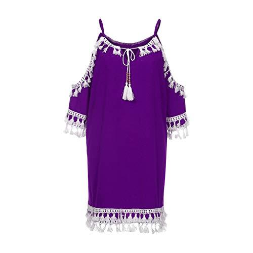 Elegante kleider Damen Kleid Cocktailkleider Ronamick Frauen ab Schulter Kleid Tassel Short Cocktail Party Strand Kleider Sommerkleid(L, Lila) -