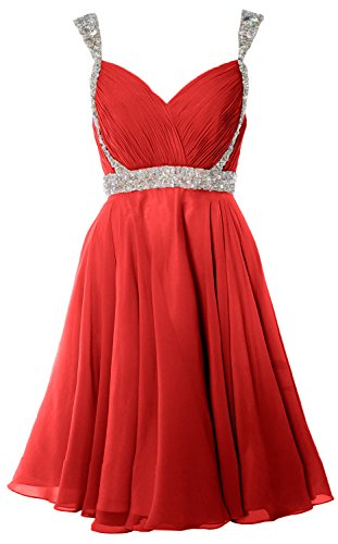 MACloth Women Crystals Straps Short Prom Homecoming Dress 2017 Formal Gown Rot