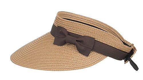 FENGFA Visoren Long Brim Empty Top Hüte Damen Sommer Sonnen Visor Sonnenschutz (Braun)