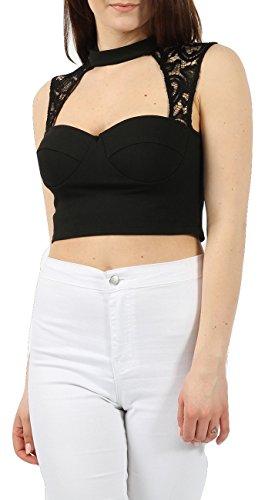 Ladies Padded Choker sans manches en dentelle en coupe de dentelle EUR Taille 36-42 Noir