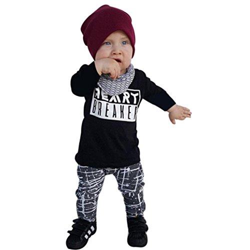 Bekleidung Longra Kind Kinder Baby Junge Mädchen Langarm Brief-T-Shirt Tops + Hose Outfits Kleiderset Babykleidung (0-24 Monate) (100CM 24Monate, (Für Mädchen Outfits)