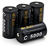 Mr.Batt C Rechargeable Batteries (4-Pack) NiMH 5000mAh Pre-charged + Battery Case