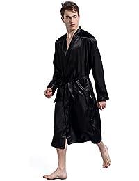 JZLPIN Hombres Satín Kimono Robe Largo Bata de Baño Bata Seda Ropa de Dormir Bata de