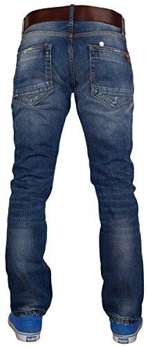 Mens Crosshatch Branded Denim Embossed Belt Jeans Designer Casual Pants Raviere - Mid Wash