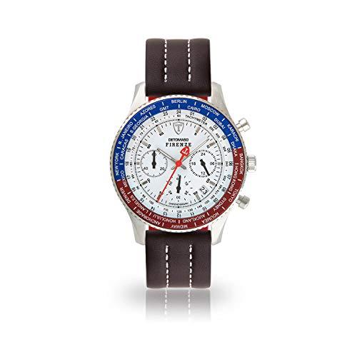 DETOMASO Firenze Orologio da polso da uomo, cronografo analogico al quarzo, cinturino in pelle marrone, quadrante bianco SL1624C-GMT-945