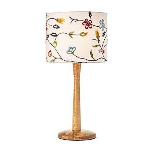 Europäische kreative Holztisch Lampe, kreisförmige Stoff Lampenschirm, Nordic minimalistischen modernen Wohnzimmer Schlafzimmer Nachttischlampe, warme Studie Schreibtischlampe, E27, Holz Farbe - Lampenschirme Kreisförmige