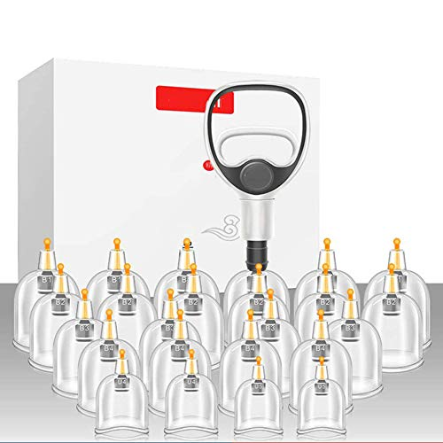 HHJY-Medizinisches Schröpfgerät,Schröpfen Vakuum Saug 24 Tassen Sets, Für Cellulite Schröpfmassage Rückenschmerzen Linderung Inklusive Saugpistole Und Verbindungsrohr