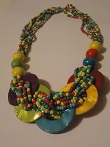 Collier fantaisie - Sautoir en perles fantaisie et bijoux en nacre de couleur multicolore