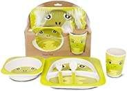 JSTOR Eco-Friendly 5 Piece Bamboo Fibre Reusable Dinnerware Set for Kids Includes Plate, Bowl, Glass, Spoon an