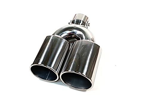 SPORT CHROME UNIVERSAL DUAL TWIN MUFFLER TIP TRIM EXHAUST TAIL PIPE FIT 35-55MM