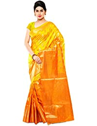 Varkala Silk Sarees Women's Art Silk Banarasi Saree With Blouse Piece(ND1045MDOR_Orange_Free Size)