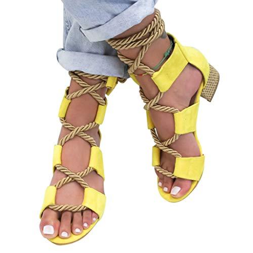 Sandalen Damen Ttlove Frauen Elegante Riemen SchnüRschuhe Quadratische Ferse RöMische Schuhe Peep Toe Sandaletten Bequeme Sommerschuhe(Gelb,38)