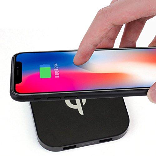 cargador inalambrico iphone 8/8Plus/X - Sannysis mini portátil cargador inalámbrico de carga rápido portable Qi wireless power cargador iphone Inalámbrico qi coche quick charge, Dual-USB (Negro)