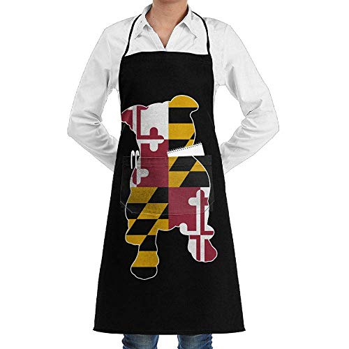 ng Aprons Maryland Flag in Pitbull Supermarket Overalls Sleeveless Anti-Fouling Overalls Portable Pocket Design ()