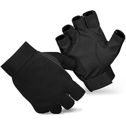 Angel Guantes de Pesca Guantes sin dedos de neopreno con piel sintética, color negro, tamaño M