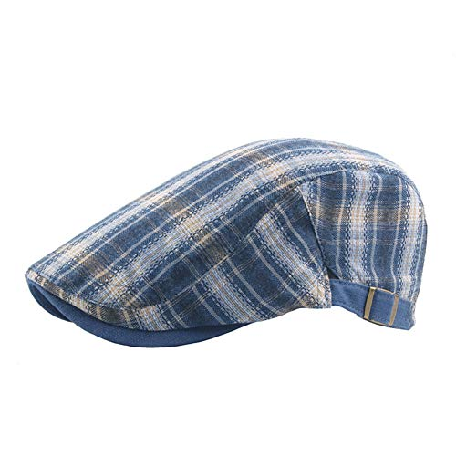MoGist Schlägermütze Klassisches Vintage Bunte Plaid Traditionelle Baumwolle Flat Cap Schirmmütze Herren Baskenmütze (Blau) -