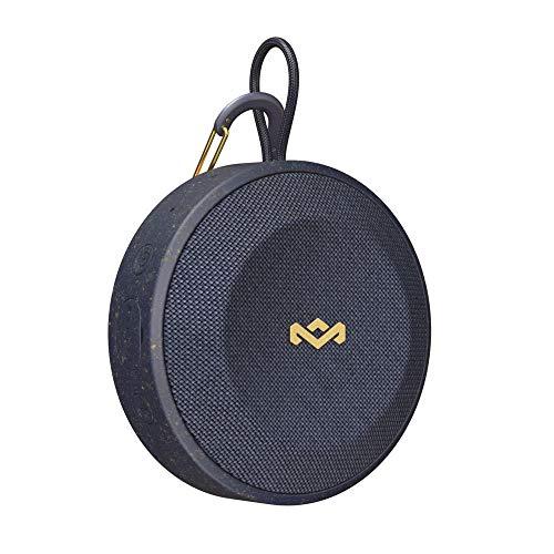 House of Marley No Bounds Outdoor Bluetooth Lautsprecher - wasserdicht, staubdicht & sturzsicher IP67, schwimmfähig, 10 Std Akku, Karabiner, Schnellladung, Aux, Dual Pairing, Mikrofon - Blue