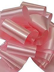 Idea Regalo - Confezione da 50 PZ coccarde rosa autotiranti gran fiocco, nastro da 5 cm, per nascita bimba