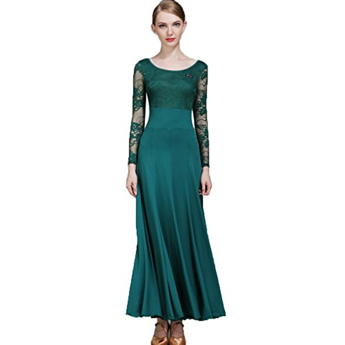 MoLiYanZi Modernes Tanzkleid National Standard Kleid Ballsaal Rock Sozialtanz Walzerkleid Spitzen-Ärmel Übe Kostüm Tanzabnutzung, L