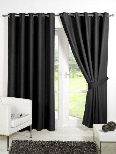 Pair of BLACK 90″ Width x 90″ Drop , Supersoft Thermal Blackout EYELET / RING TOP Curtains Including Pair of Matching Tie Backs, 'Winter Warm but Summer Cool' by VICEROY BEDDING