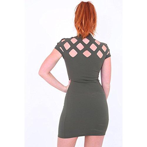 Damen Cage Laser Cut Out mit Flügelärmeln , figurbetontes Kleid EUR Größe 36-42 Khaki