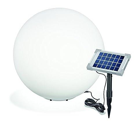 Solar Leuchtkugel Mega Ball 50cm, hochwertige PE Kugel, Dauer- oder Wechsellicht, 8 Lichtfarben inkl. warm- und kaltweiß,