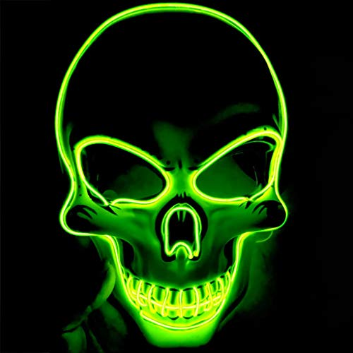 Calvinbi Halloween Maske LED Light EL Wire Schädel Maske Skelett Maske Cosplay Maske Purge Mask für Festival Fasching Cosplay Halloween Karneval Kostüm Dekoration - Luigi Für Erwachsene Kostüm Maske
