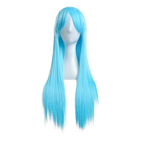 rawdah 80cm lange Gerade Perücke Cosplay Party Kostüm (Perücke Twotone Kostüme Blau)