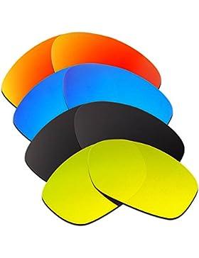 Hkuco Plus Mens Replacement Lenses For Oakley Pit Bull Red/Blue/Black/24K Gold Sunglasses