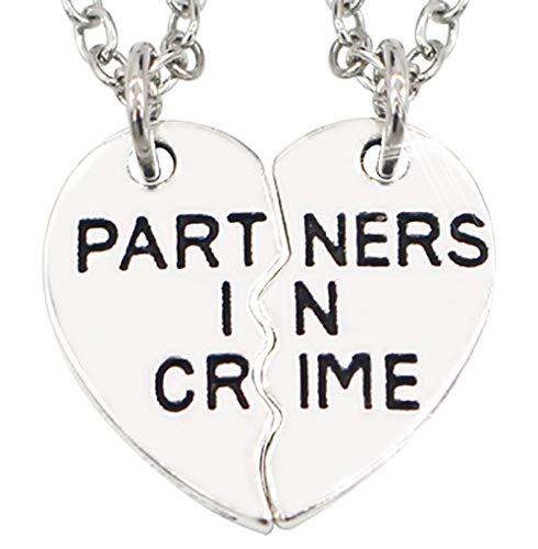 Inception Pro Infinite 1 Satz von Zwei Herzketten, die in der Mitte mit schriftlichen Partnern in der Kriminalität geteilt Werden