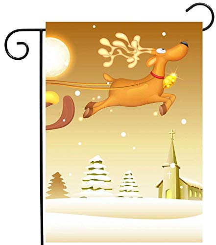 ASKYE Santa Claus in Sledge Seasonal Winter Snow Moon Garden Yard Flag Double Sided, Polyester Welcome House Flag Banners for Patio Lawn Outdoor Home Decor(Size: 28inch W X 40inch H) -