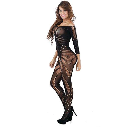 Doublehero Damen Reizvoller Jumpsuit,Mesh Dessous Set Fischnetz Babydoll Mini Kleid Free Size Bodysuit Nachtwäsche Lingerie Unterwäsche (Nylon Übergröße Kostüm)