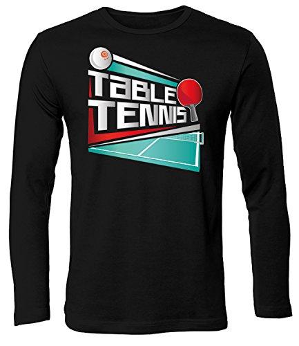 (Table Tennis 5071 Fanshirt Shirt Tshirt Fanartikel Fanshirt Männer Sportbekleidung Herren Longsleeve Langarm T-Shirts Schwarz XXL)
