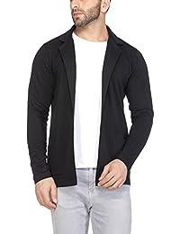 Tinted Men's Cotton Blend Blazer Cardigan (Black, Medium)